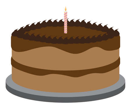 cake slice: A Birthday cake with one candle isolated on a white background Illustration