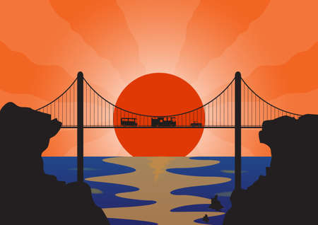 suspension bridge: A convoy of holiday vehicles on a suspension bridge at sunset over the ocean