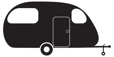 overnight: A caravan silhouette isolated on a white background Vettoriali