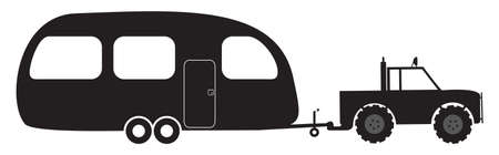 4x4: A caravan and 4x4 silhouette isolated on a white background