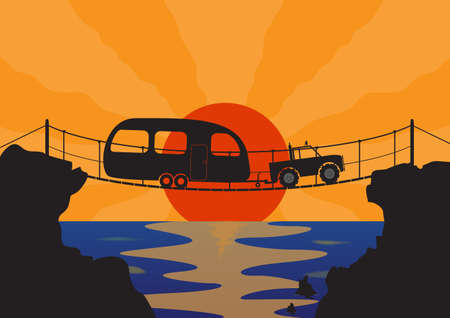 rope bridge: A Truck and Caravan on a rope bridge at sunset over the ocean Illustration