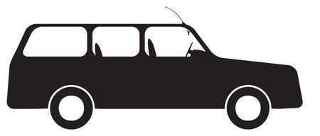 estate car: An estate car silhouette isolated on a white background