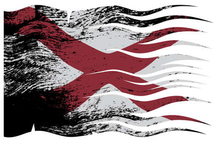 alabama state: A wavy and grunged Alabama state flag design isolated on a white background