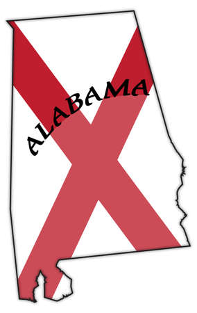alabama state: An Alabama state flag design inside a state outline isolated on a white background