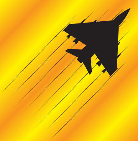 fighter jet: A fighter jet silhouette flying on an orange and yellow background