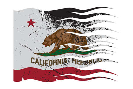 california flag: A wavy California flag with a grunge design isolated on a white background