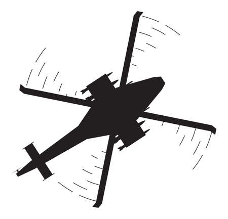 the air attack: An attack helicopter silhouette isolated on a white background