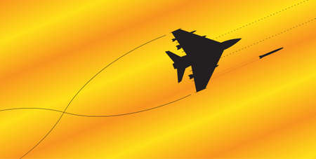 firing: A fighter jet silhouette firing all weapons on a colourful background