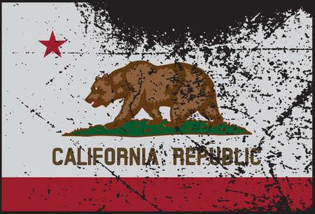 california flag: A California flag with a grunge design Illustration