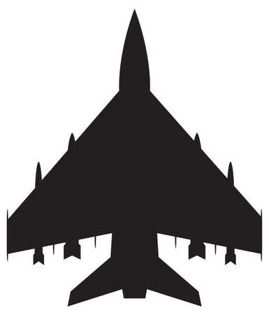 thrust: A fighter jet silhouette isolated on a white background Illustration