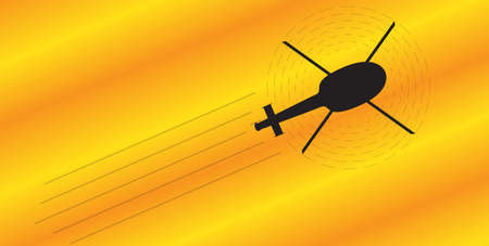cockpit: A silhouette of a helicopter flying on an orange and yellow background