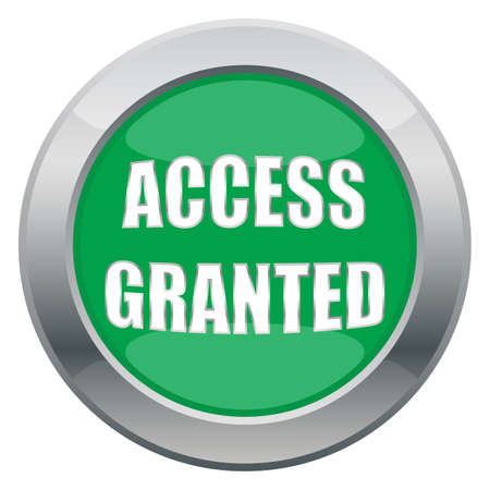 granted: An access granted icon in green isolated on a white background