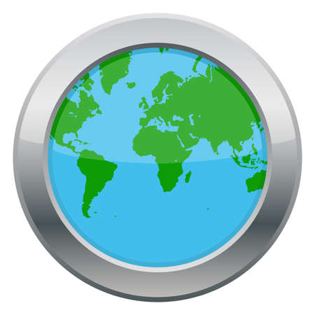 the land of menu: An Earth map icon isolated on a white background