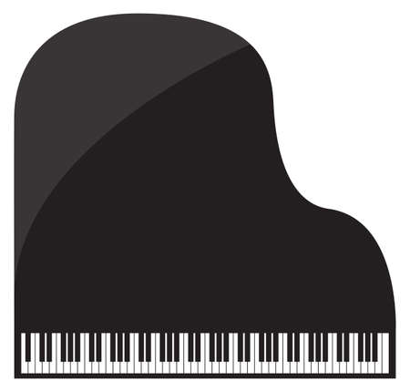 ebony: A grand piano design isolated on a white background