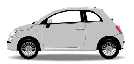 A compact car isolated on a white background