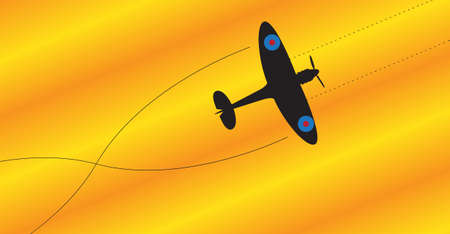 thrust: A spitfire silhouette firing all weapons on a colourful background Illustration