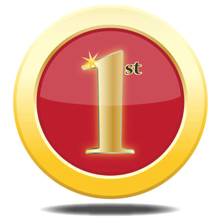 1st place: A 1st place gold icon isolated on a white background