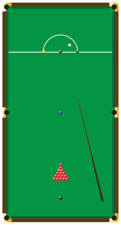 pot hole: A snooker table with a cue and balls and chalk isolted on a white background Illustration