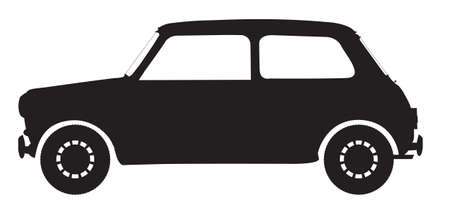 illsutration: A small car silhouette isolated on a white background