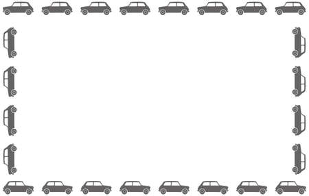 illsutration: A small car silhouette border on a white background Illustration