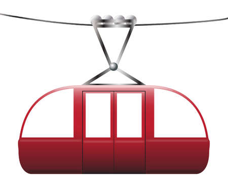 descend: A cable car on a cable on a white background Illustration