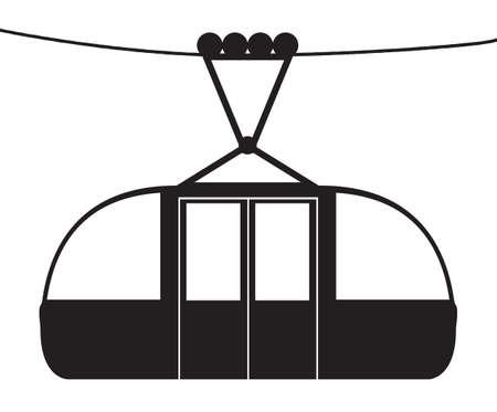 Een kabel auto op een kabel silhouet geïsoleerd op een witte achtergrond