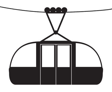 A cable car on a cable silhouette isolated on a white background