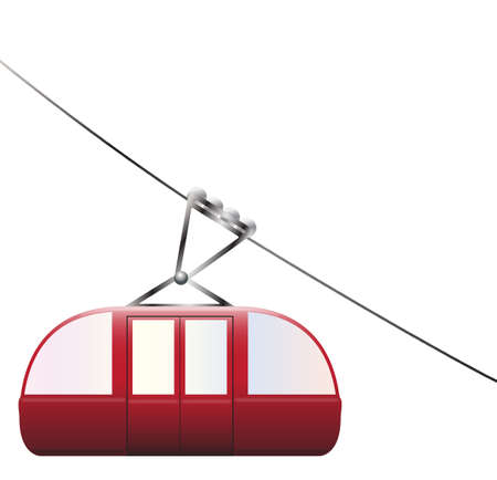 descend: A cable car going downhill on a white background Illustration
