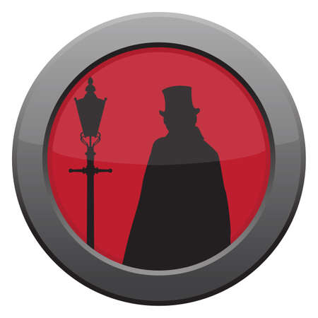 ripper: A Jack the ripper icon in red isolated on a white background
