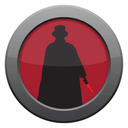 ripper: A Jack the ripper with knife icon in red isolated on a white background