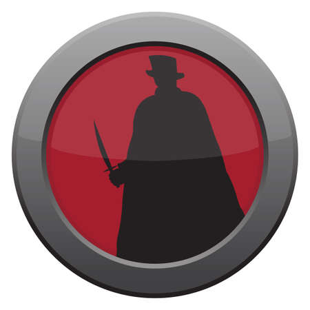 A Jack the ripper with knife icon in red isolated on a white background
