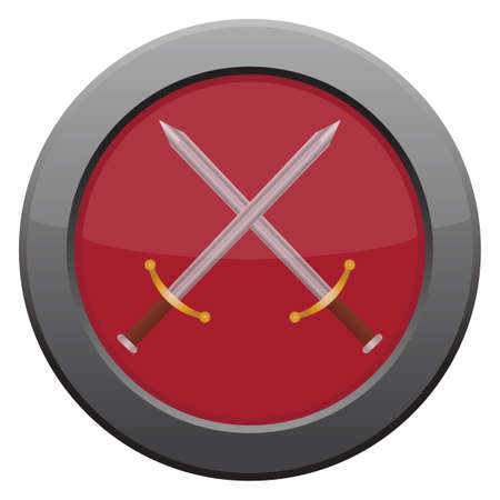 tungsten: A swords icon in red isolated on a white background