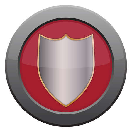 tungsten: A shield icon in red isolated on a white background Illustration