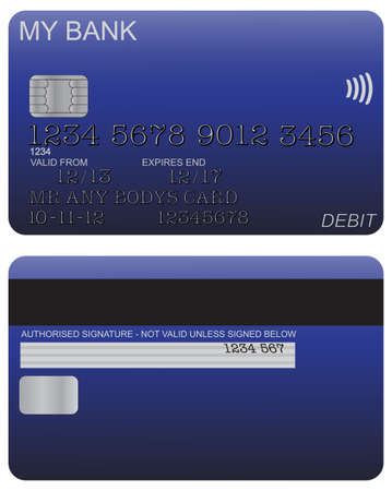 the detail: Front and back of blue debit card design with detail isolated on a white background