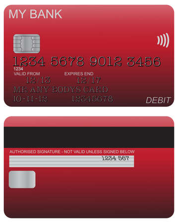 detail: Front and back of red debit card design with detail isolated on a white background Illustration