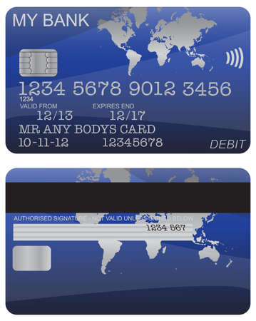 debit: Front and back of a blue world map debit card design with detail isolated on a white background Illustration