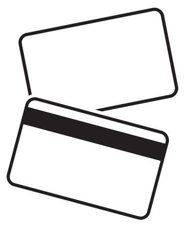 debit: Front and back of a blank debit card silhouette isolated on a white background