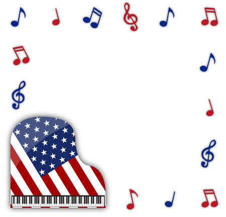 ebony: An American flag grand piano design with musical notes isolated on a white background