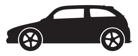 hatchback: A sporty hatchback car silhouette isolated on a white background