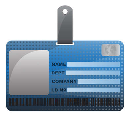 detail: An ID card design with detail and a texture isolated on a white background