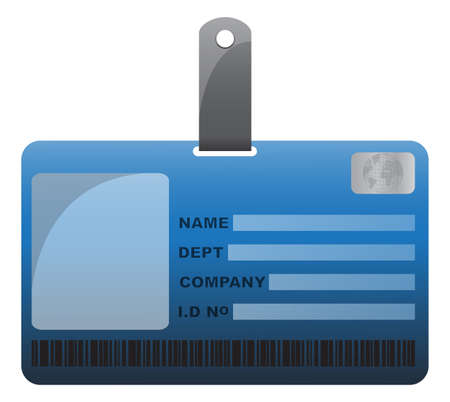 detail: An ID card design with detail isolated on a white background Illustration