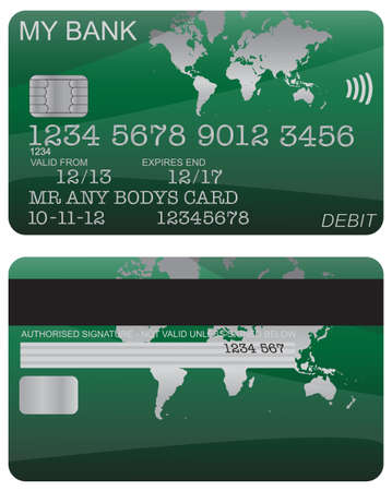 debit: Front and back of a green world map debit card design with detail isolated on a white background