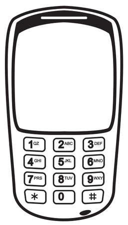 old phone: An old mobile phone silhouette with numbers isolated on a white background Illustration
