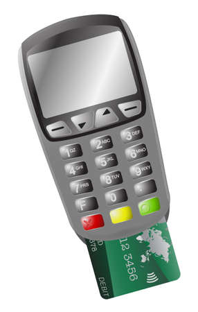 chip and pin: A detailed chip and pin machine with a card isolated on a white background