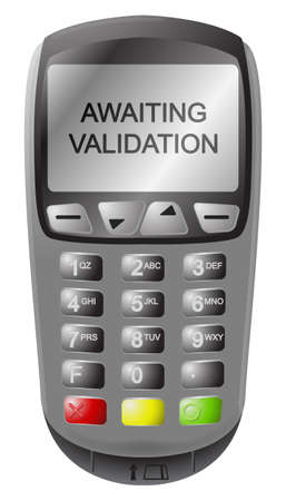 chip and pin: A detailed chip and pin machine with text isolated on a white background