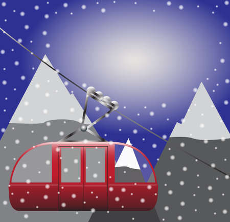 descend: A cable car in the mountains on a snow background