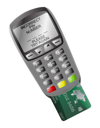secret codes: A detailed chip and pin machine with text and a card isolated on a white background Illustration