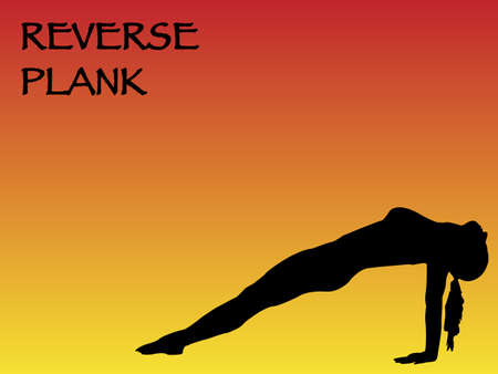 reverse: A yoga woman performing reverse plank pose on a colourful background