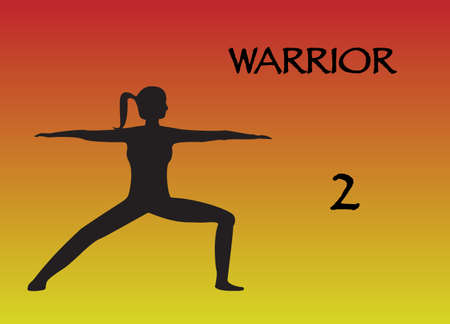 calm woman: A yoga woman performing warrior 2 position on a colourful background