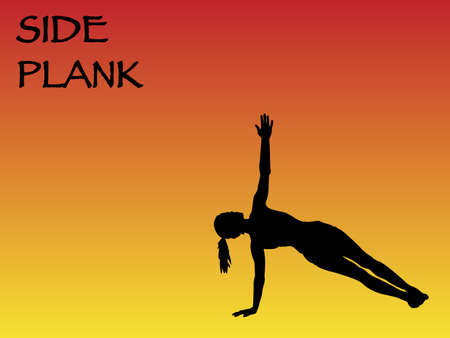 chi: A yoga woman performing side plank pose on a colourful background
